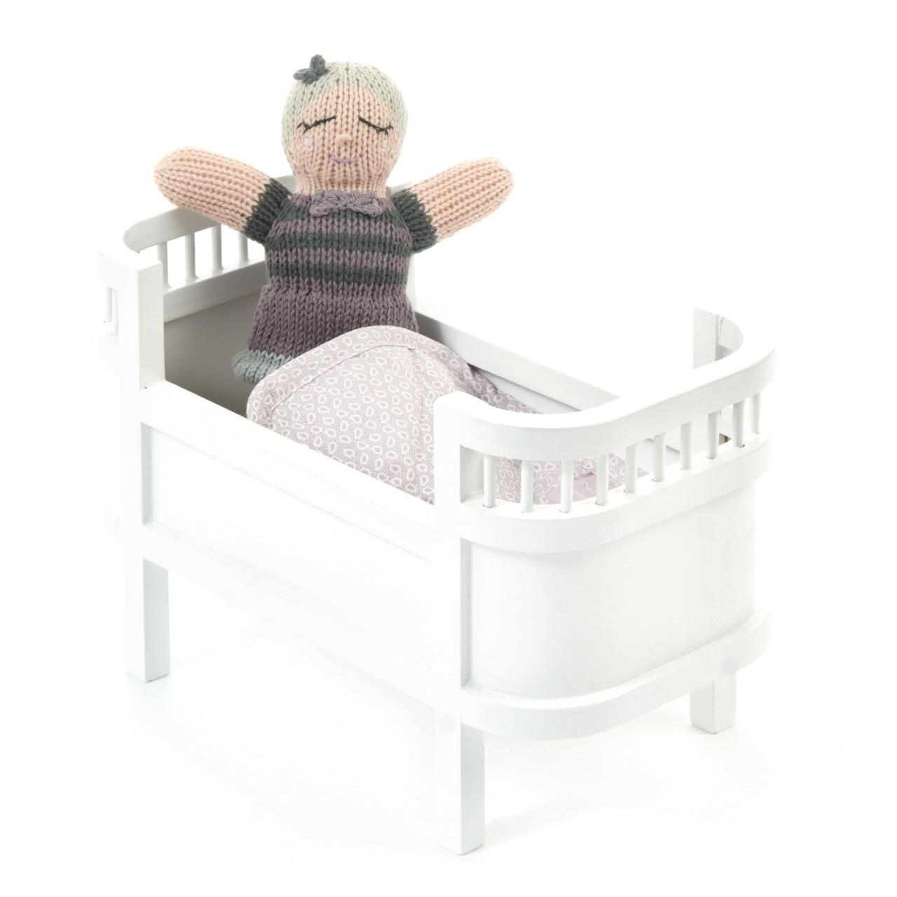 деревянная кроватка для кукол Smallstuff белая маленькая